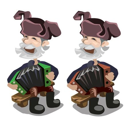 sings: Old man in hat playing accordion and sings happy song, vector character Illustration