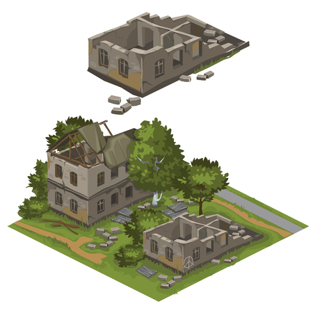 collapsed: Few ruined buildings on green lawn with trees, vector city