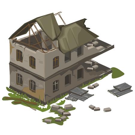 Een vernietigde twee verdiepingen vintage gebouw verwoest door een aardbeving, geïsoleerde vector Vector Illustratie