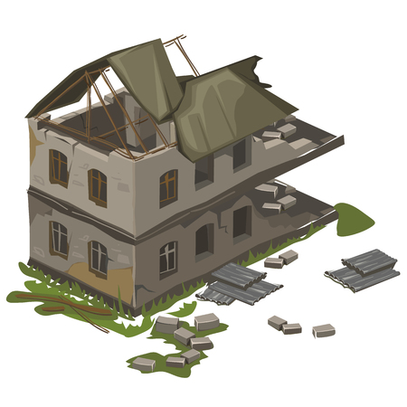 One destroyed two-story vintage building destroyed by earthquake, vector isolated
