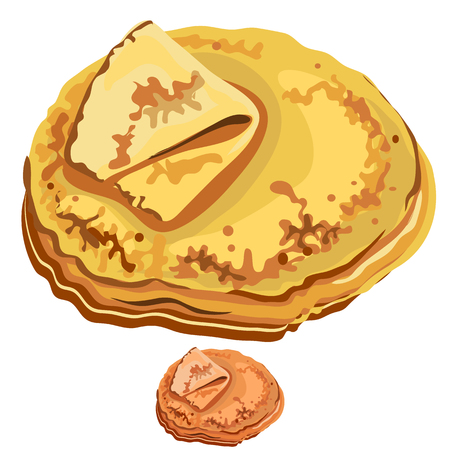 Traditional delicious fried crepe with butter, vector on white background