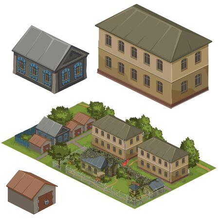 residential zone: Few wooden houses on a beautiful green street, vector city