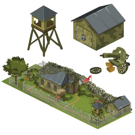 garrison: Military garrison, garage, tower and machine gun, military complex of several things