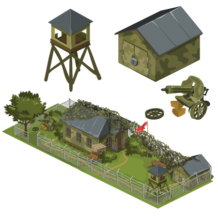Military garrison, garage, tower and machine gun, military complex of several things