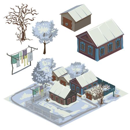 hamlet: Winter landscape with several snow-covered houses, top view vector city