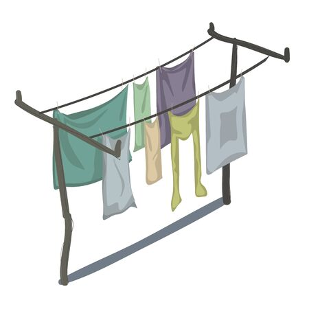 wet shirt: Clean clothes that are drying on the line in several rows, vector isolated
