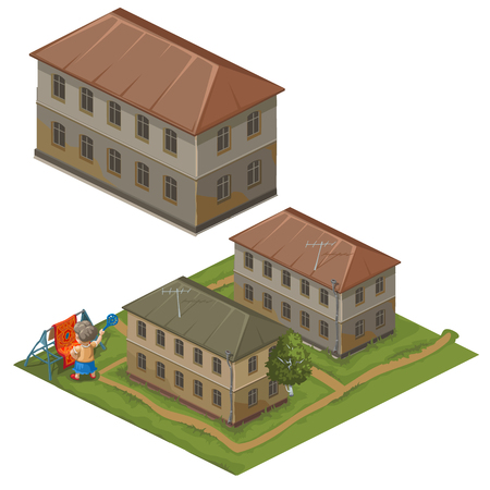 hostess: Three houses, top view and hostess on street hangs clothes to dry