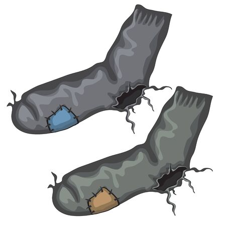 torn stockings: Old pair of holed socks with patches and holes on heels Illustration