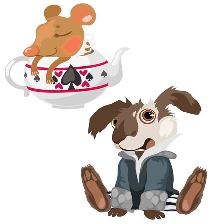 Shell-shocked dog and sleeping mouse in teapot, vector comic composition Illustration