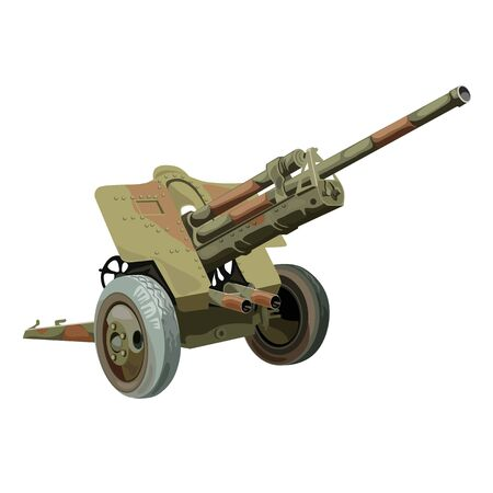 Old military gun on wheels, vector on white background