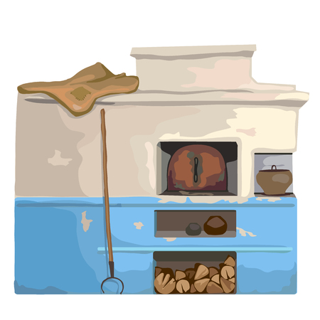 Wood old burning stove, Slavic cartoon style, vector isolated Illustration