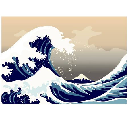 Large frothy waves of the sea, decor, picture the wall Illustration