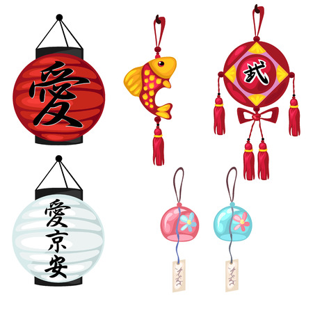 Chinese paper lanterns, gold fish and other oriental symbols