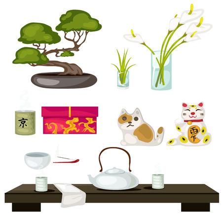 東のシンボル、風水、盆栽、猫、茶道  イラスト・ベクター素材