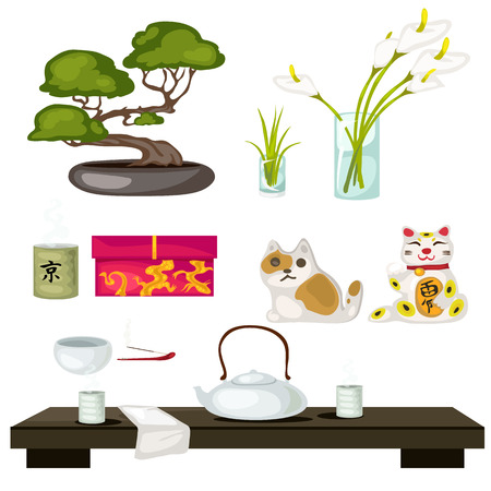 Eastern symbols and Feng Shui, bonsai, cat, tea ceremony