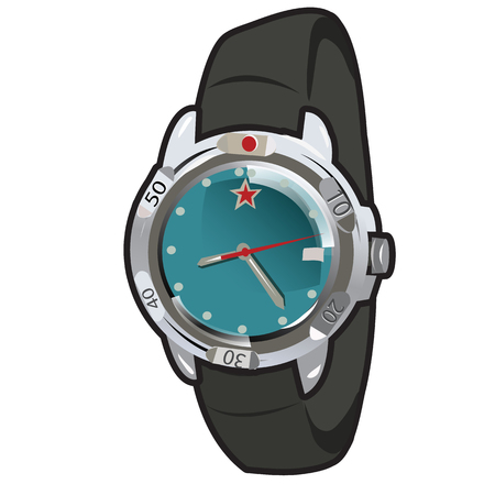 strap: Mens classic retro watch with leather strap, vector illustration Illustration