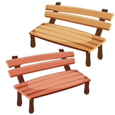 Two wooden benches for decoration, cartoon style Vectores