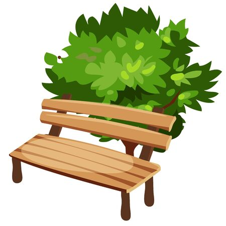 wooden bench: Wooden bench and tree, cartoon style, vector isolated