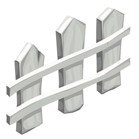 nailed: Fragment of white wooden fence isolated, vector illustration
