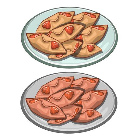 plate of food: Sweet pies envelopes jam on a plate, vector food isolated