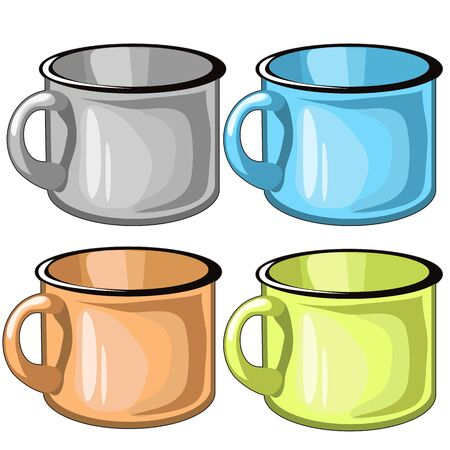 cup four: Four mugs of different colors of metal, vector isolated