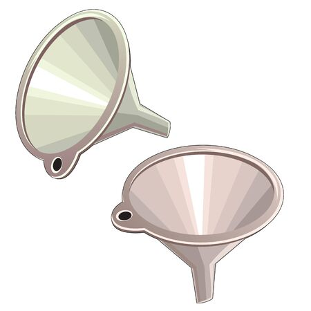 filtering: Stylish two colored plastic funnel, vector isolated Illustration