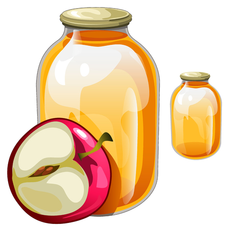 Two banks transparent jars with delicious apple juice and apple