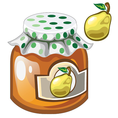 Glass jar with pear jam or marmalade and pear, vector food