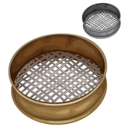 Steel sieve for sifting flour and other dry substances, vector isolated Illustration