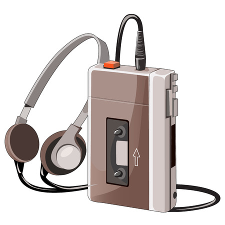 Old cassette music player with wired headphones, vector isolated
