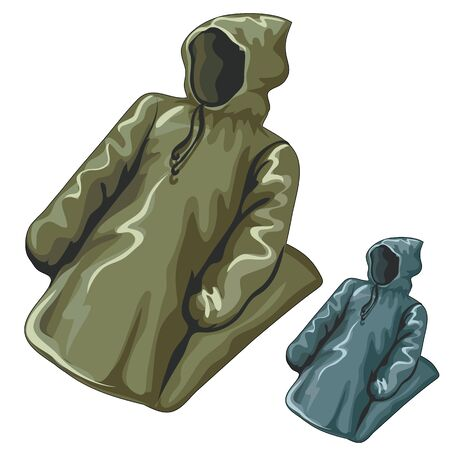 slicker: Dense rain jackets with hoods, vector clothing