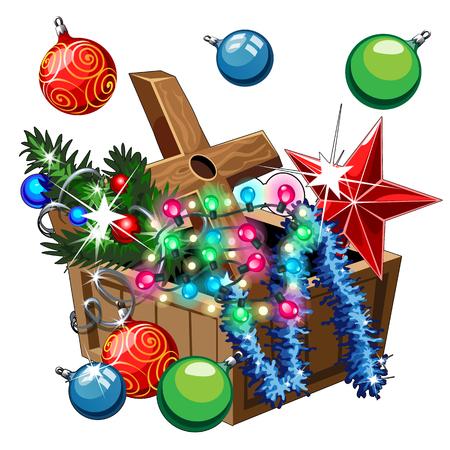 postcard box: Box with Christmas decorations, balls, stars, tinsel on white background Illustration