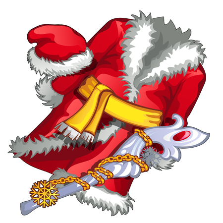 saint nick: Red santa claus suit with yellow belt, vector illustration