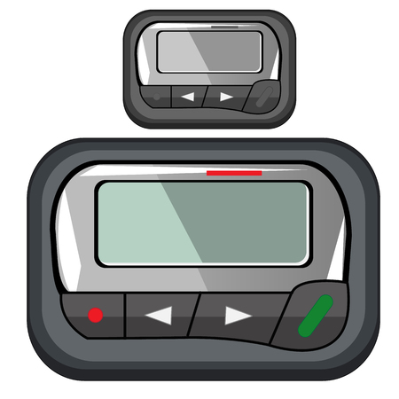 contact details: Convenient compact pager for business person, vector isolated