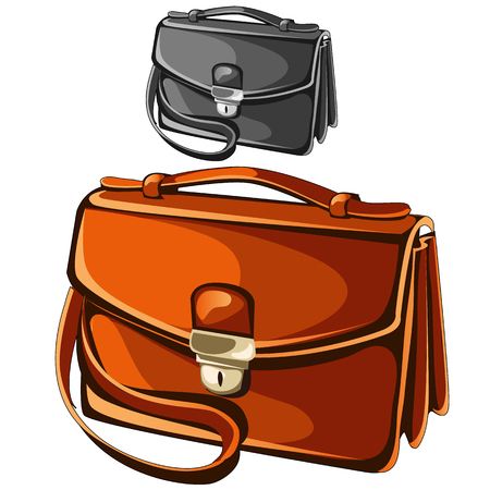 leather briefcase: Modern leather briefcase business man, vector isolated