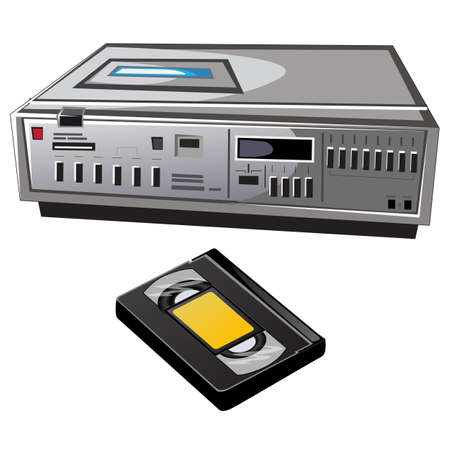 videocassette: Old cassette video player and videocassette, vector isolated