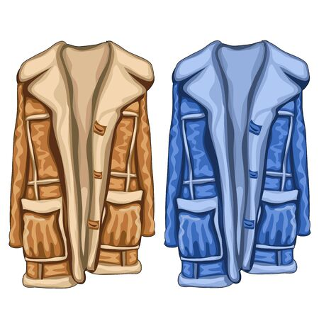 Two dressing gowns in two colors, blue and brown, vector clothing Illustration