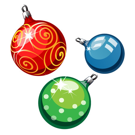 breakable: Three decorative balls on Christmas tree, red, blue and green, vector isolated Illustration