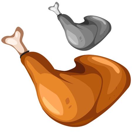 Delicious grilled chicken leg closeup, vector food