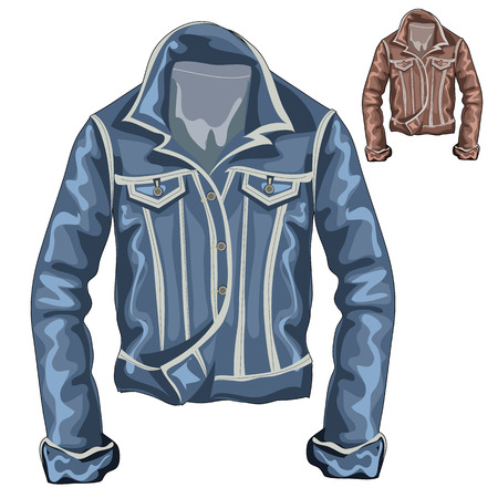 denim jacket: Stylish denim thick jacket with long sleeves, vector clothing