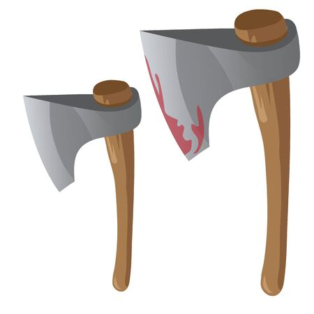 Two retro bloody axe with wood handles, vector isolated