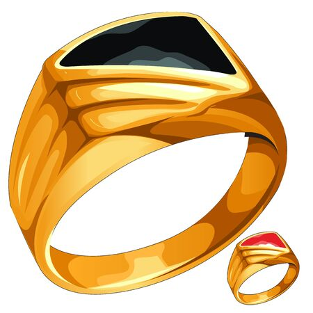 is expensive: Mens yellow gold ring with expensive stone, vector jewelry Stock Photo