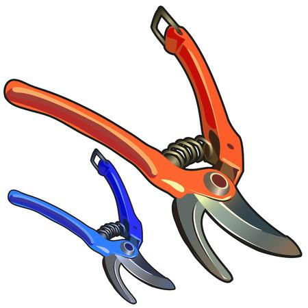 2 つの強力なガーデンはさみ、分離ツール庭師  イラスト・ベクター素材