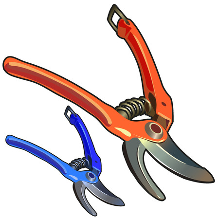 Two powerful garden shears, tool gardener isolated