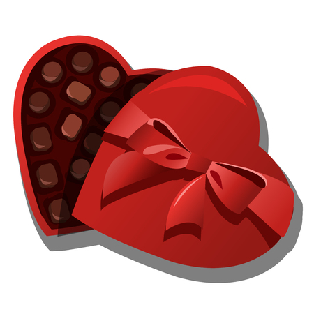 Chocolate box of delicious chocolates in heart shape, vector isolated