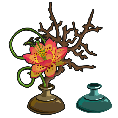 Original red flower in vase, interior decor. Vector isolated
