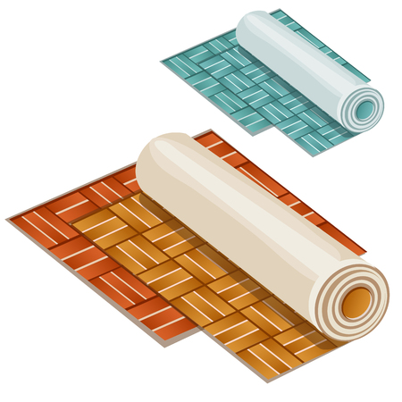 paperhanging: Wallpaper rolls two types on white background, vector illustration