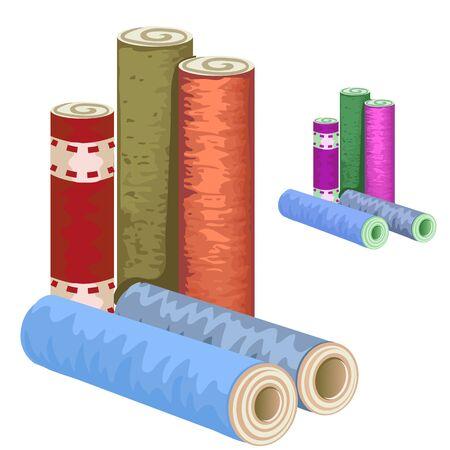 paperhanging: Many varieties of wallpaper rolls on white background, vector illustration Illustration
