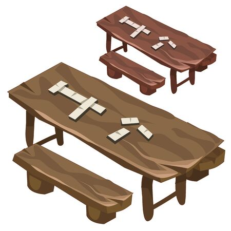 wooden bench: Wooden bench and a table with dominoes chips, vector illustration Illustration