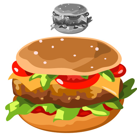 sesame: Delicious hamburger in cartoon style isolated, food